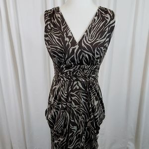IZ Byer Brown & Tan Patterned V Neck Dress